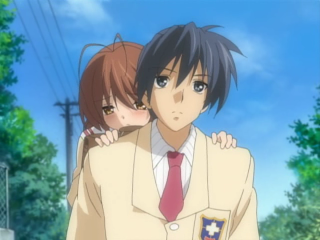 Tomoya carries Nagisa