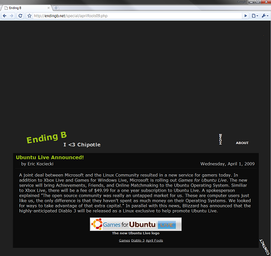 A screenshot of the site showing the April Fools prank
