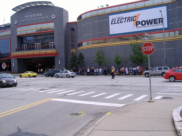 Line of people outside Acen