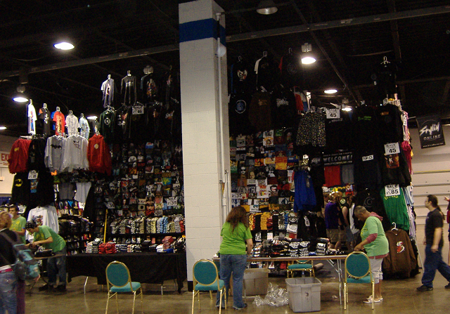 A huge t-shirt booth at Acen