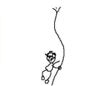 A stick figure drawing of a rope climbers rope snapping