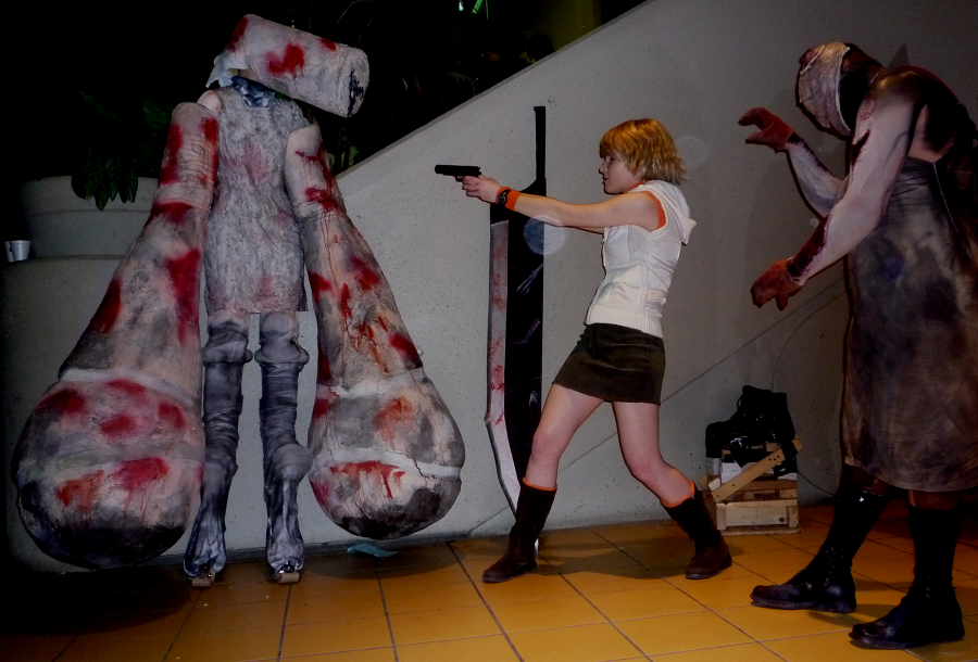 A group of Silent Hill cosplayers in an action pose at Ohayocon 2010
