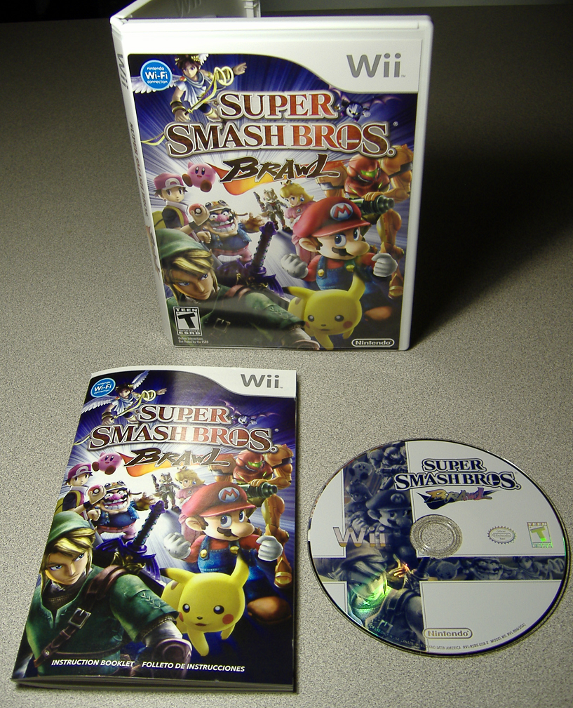 Super Smash Bros. Brawl case, disc, and manual