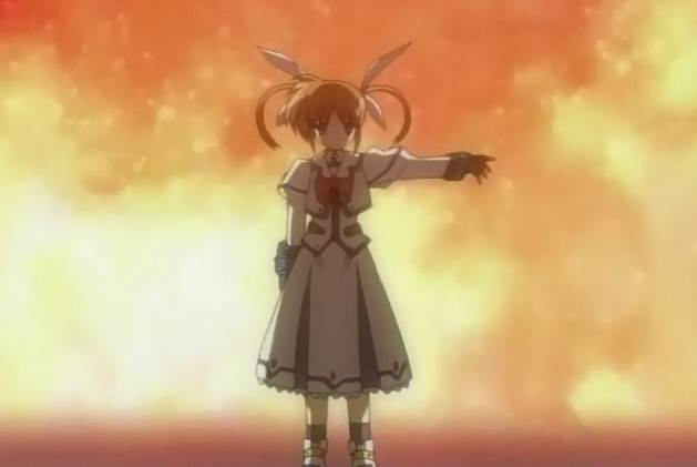 Nanoha standing in front of fire