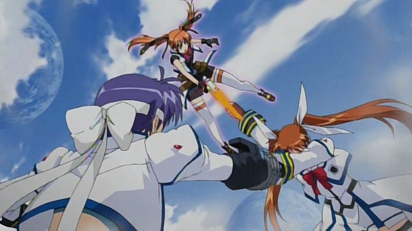 Nanoha in battle with Tea and Subaru